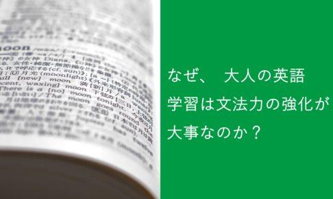 なぜ、大人の英語学習は文法力の強化が大事なのか?